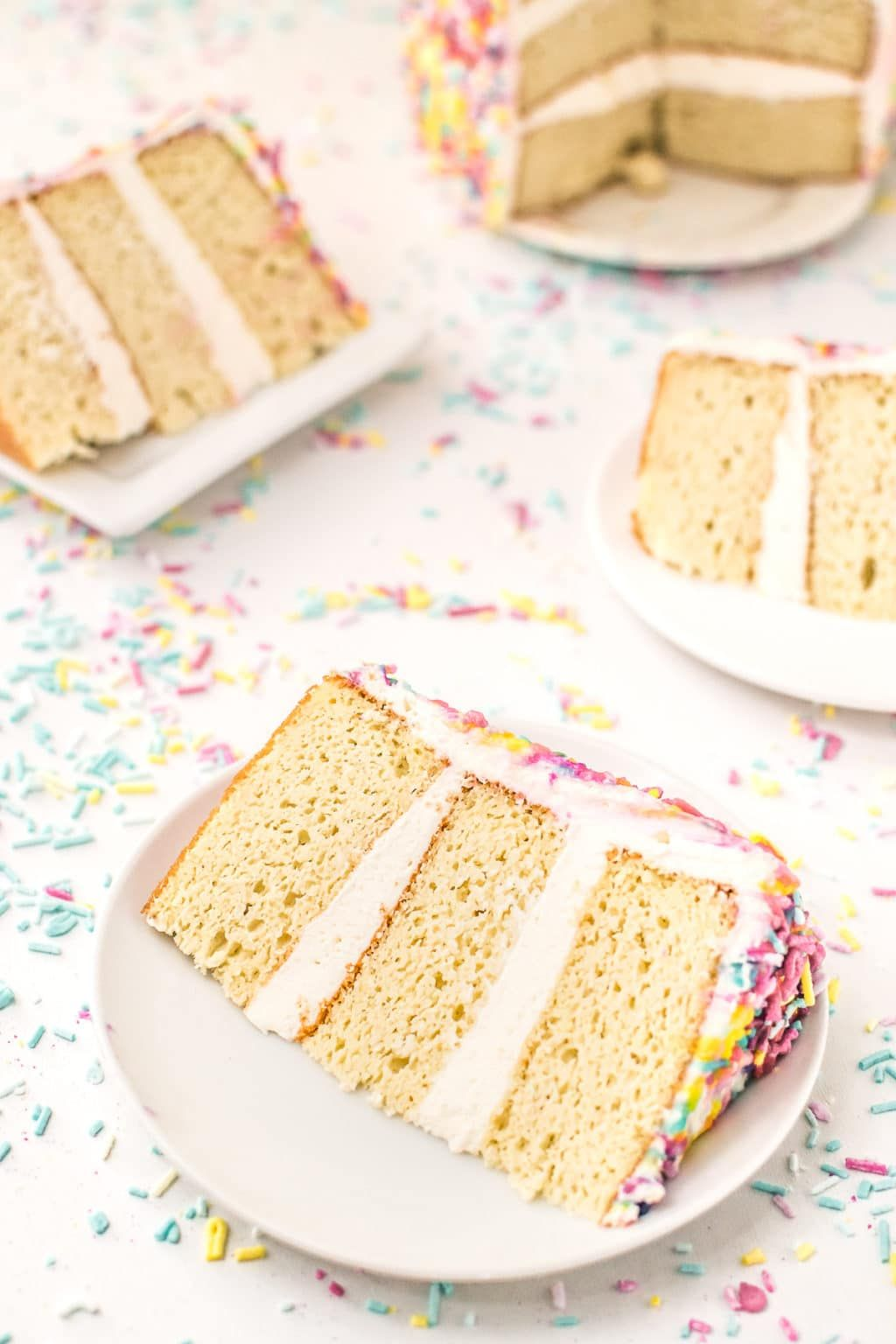 A low carb homemade birthday cake complete with creamy