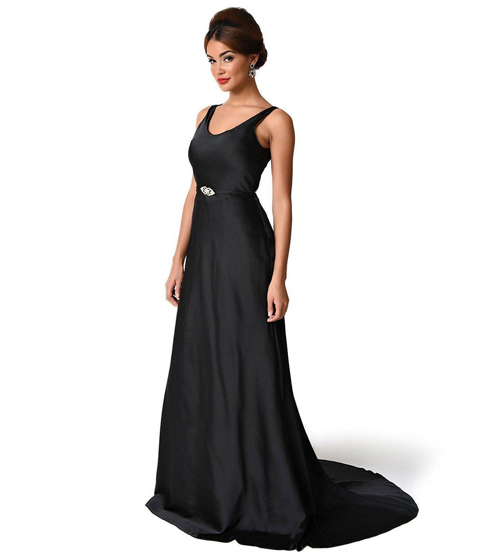 Unique vintage s black satin ellington deco bias cut gown