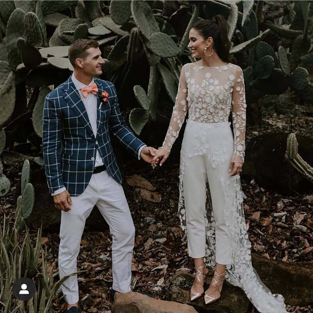 """Festival Brides on Instagram: """"From this mornings bridesmaid jumpsuits to a super stylish bridal jumpsuit with that stunning delicate floral overlay �. Loving the…"""""""