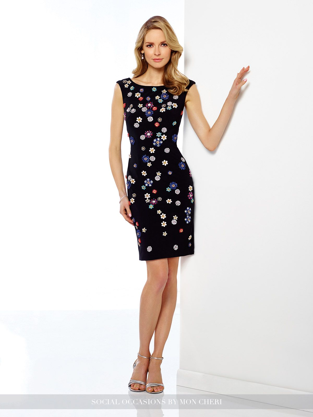 3d3f88ba26db ... 216882 - Sleeveless jersey knee-length sheath with multi-colored  hand-beaded motifs