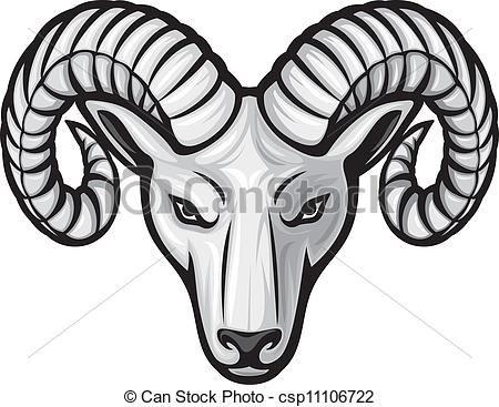 vector head of the ram ram head stock illustration royalty