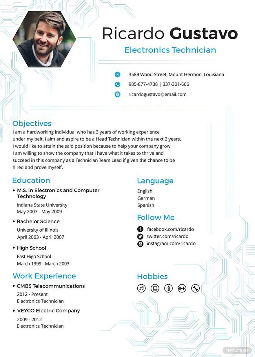 Free Electronic Technician Resume Template in 2020