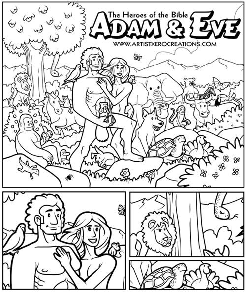 Adam Eve Coloring Page The Squirrel S Position Is