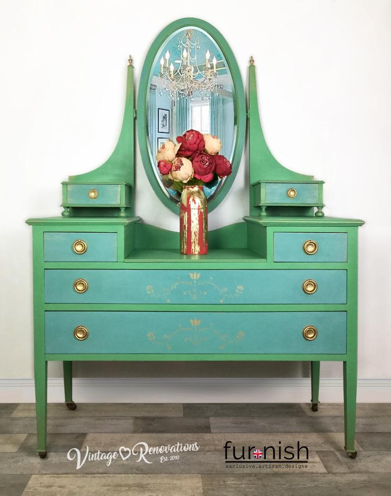 Bedroom Chest Delivery Drawers Dressing Furniture Gold Greenblue Mirrorfree Stenci In 2020 Vintage Dressing Tables Green Furniture Mirrored Bedroom Furniture