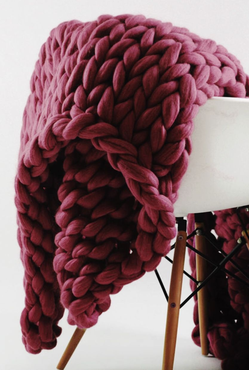 Wine Colored Handmade Chunky Knit Merino Wool Blanket Ohhio On