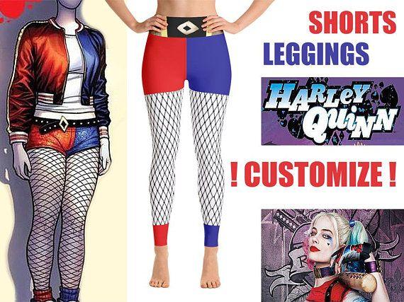 3e04afb8e Harley Quinn Leggings Shorts Women High Waist Cosplay Halloween Comics  Clown Hero Outfit Set Costume