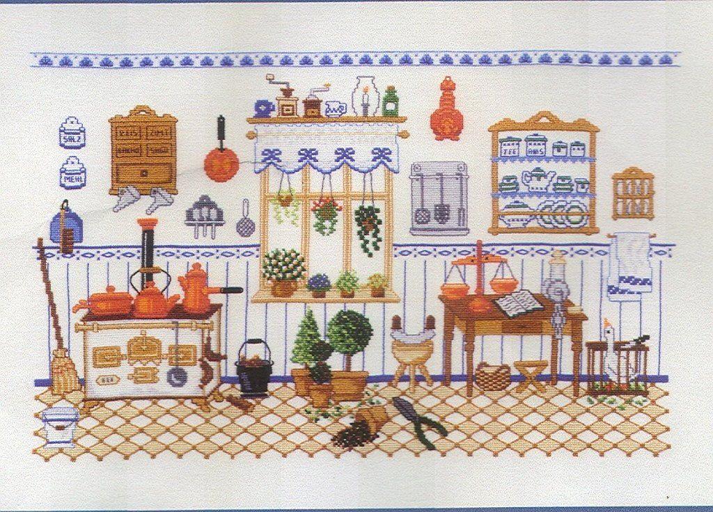 Cocinas antiguas a punto de cruz buscar con google - Punto de cruz cocina ...