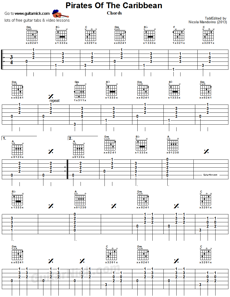 Pirates of the Caribbean - guitar chords 1 | Guitars & Tabs ...