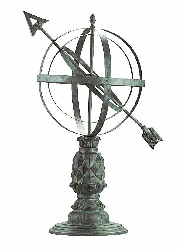 Sculptural Spheres Crazy Wonderful: Williamsburg Pineapple Armillary Sphere & Sundial Metal