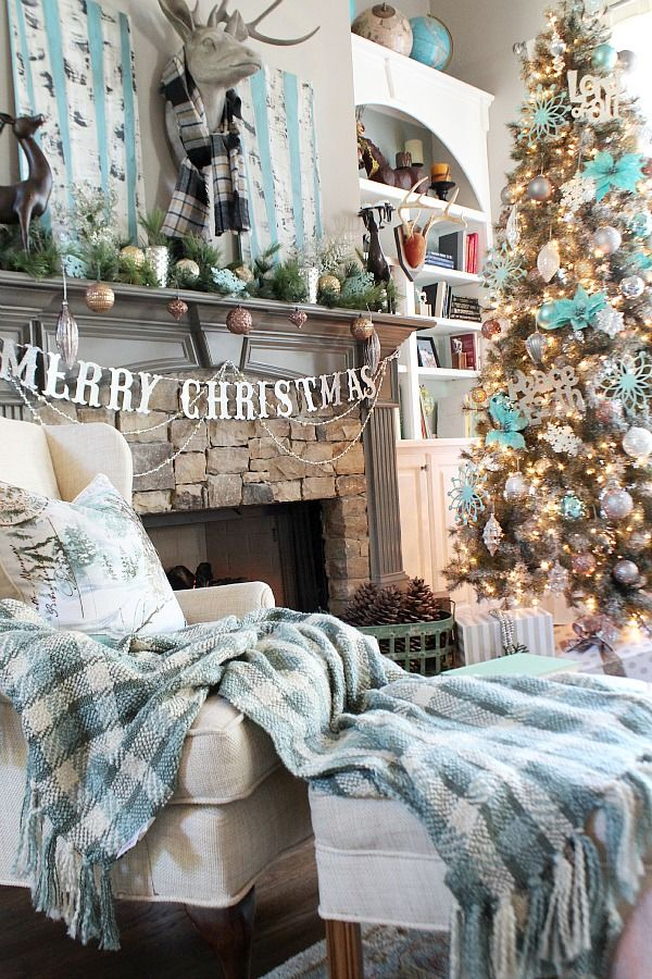 Country Living Home tour for Christmas at Refresh Restyle - Holiday decorating theme: cozy Lodge-Chic wiht the beautiful stone fireplace mantel, Birch art and colors in aqua, white and natural. At @refreshrestyle1