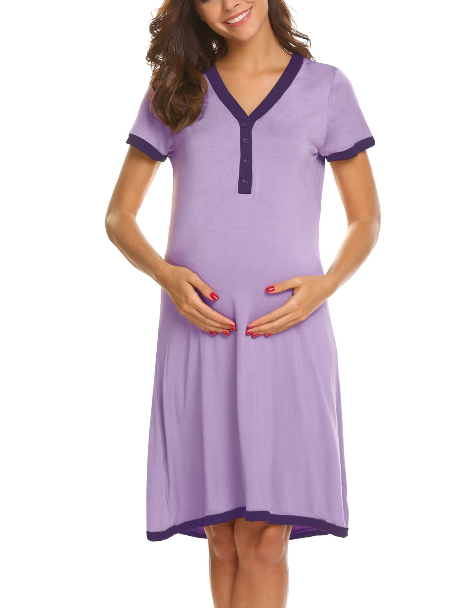 e65d02c29f703 hospital bag - Ekouaer 2 in 1 Maternity Nursing Nightgown Nightdress  Hospital Bag Must Have Pregnancy Breastfeeding * Click picture to review  more details.