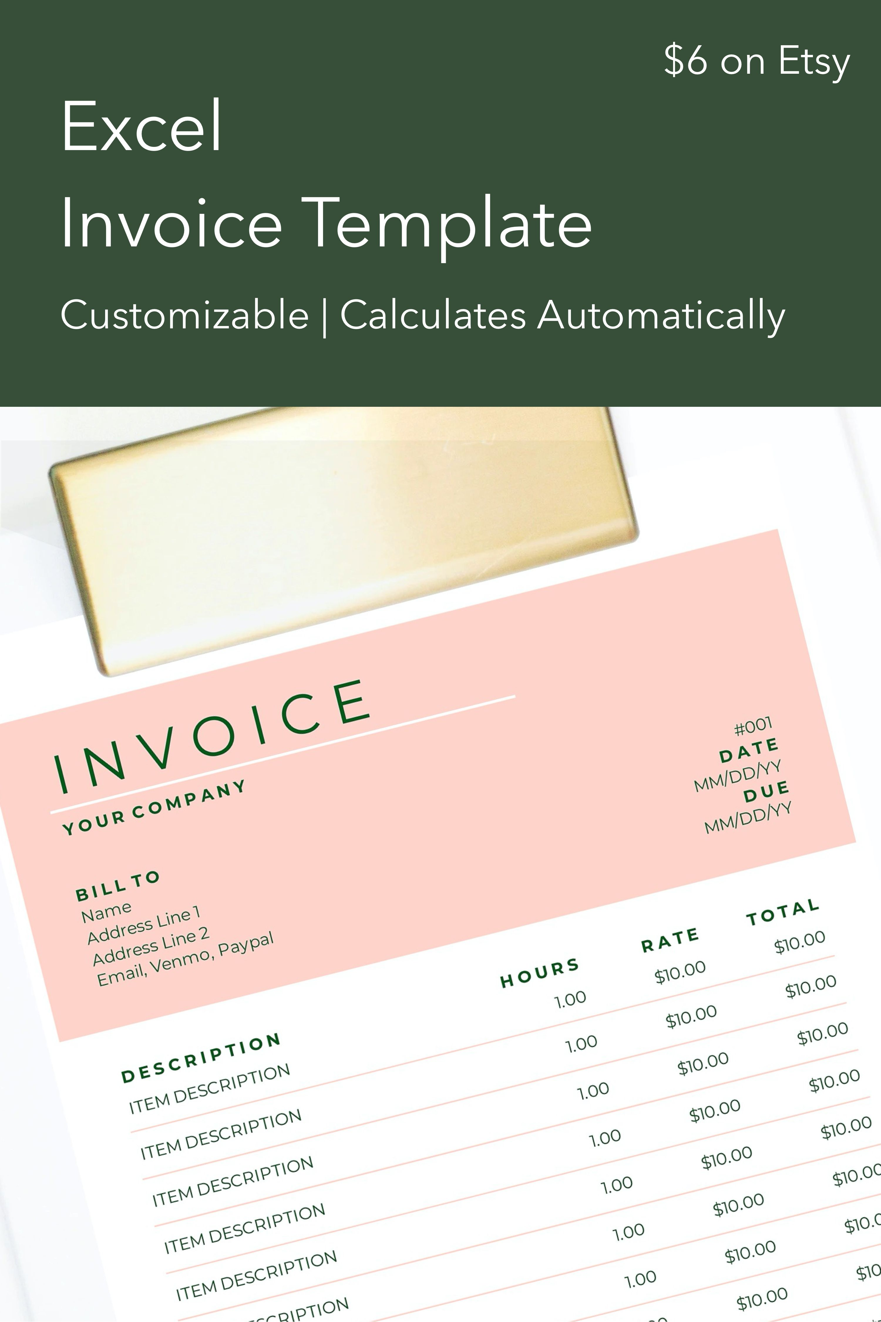 Design Excel Invoice Clean Modern Freelance Shop Etsy Invoice Template Invoice Design Photography Invoice
