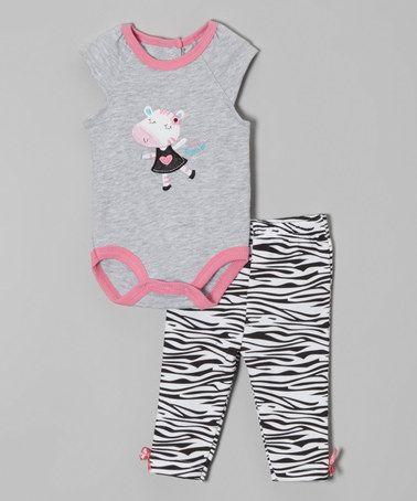 Look at this #zulilyfind! Gray & Pink Cow Cap-Sleeve Bodysuit & Zebra Leggings by bon bébé #zulilyfinds