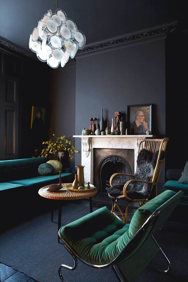 Royal Green Dark Living Rooms Dark Interiors Interior