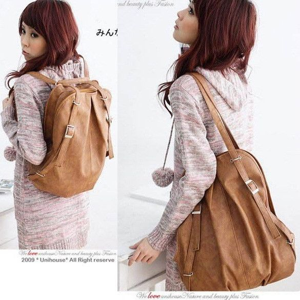 0649ef632a New Fashion New Korean Style Fashion Lady 2 Ways PU Leather Backpack Purse  Handbag Shoulders Bag