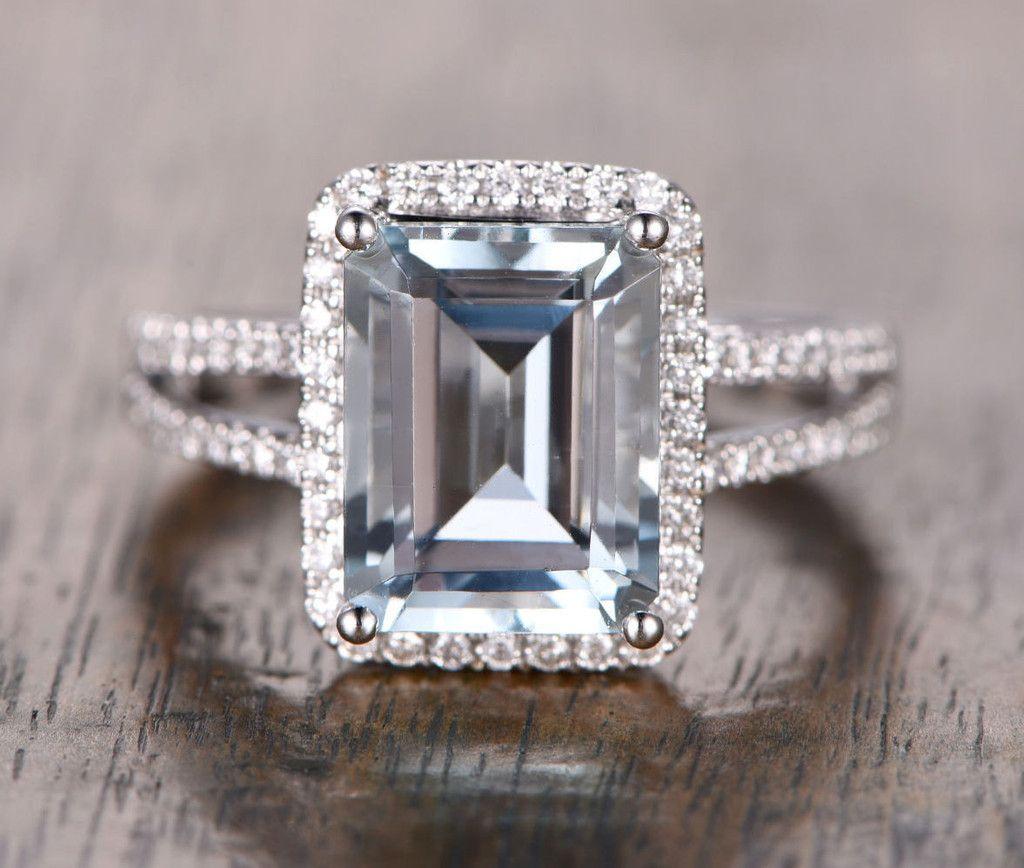 1 228 Emerald Cut Aquamarine Engagement Ring Pave Diamond Wedding 14k White Gold 10x12mm Split Shank