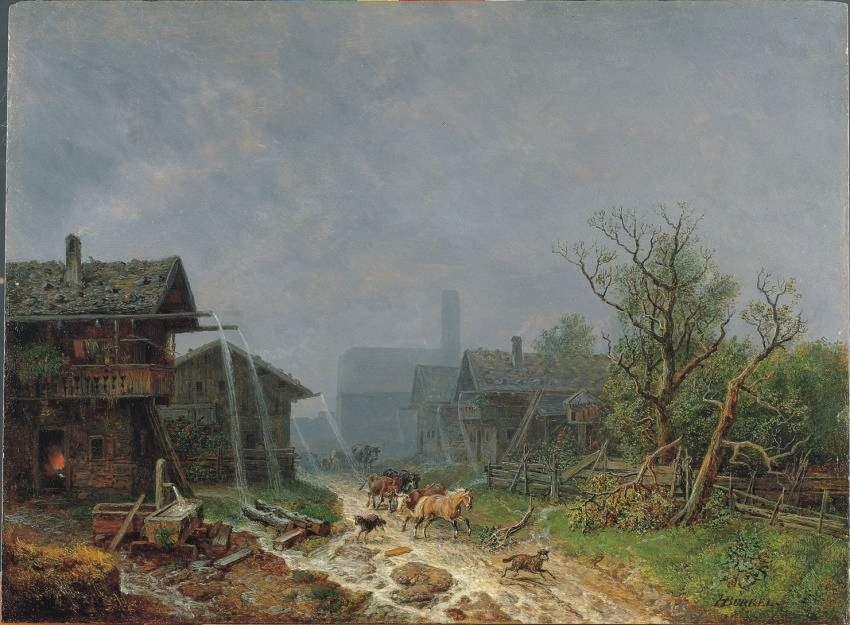 Heinrich Bürkel: Partly Cloudy in Garmisc by Heinrich Bürkel
