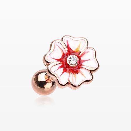 Rose Gold Plated Hawaiian Hibiscus Flower Cartilage Earring Clear Pendulum Earrings Tragus Earrings Circle Earrings Studs