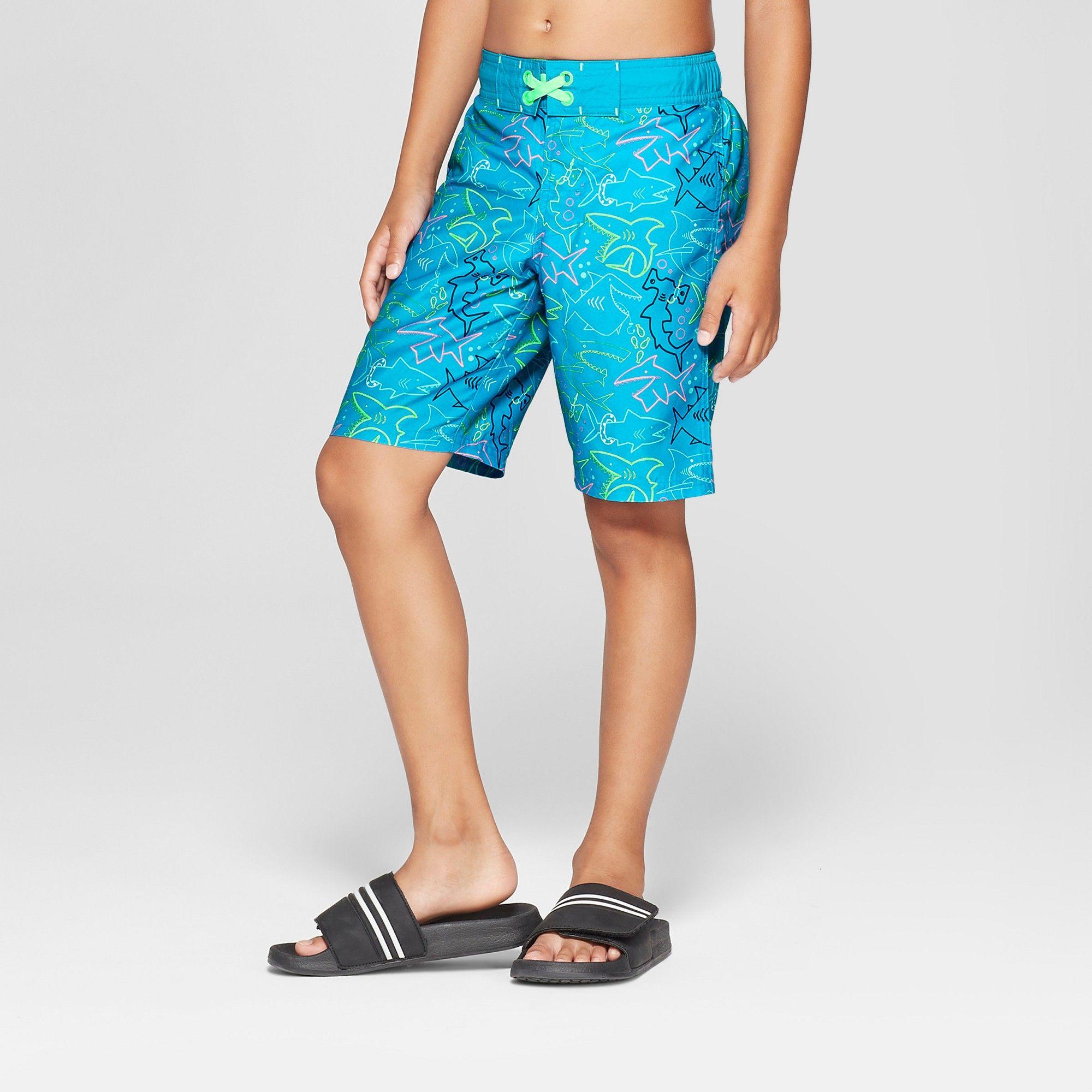 9d49fa166f80c Boys' Neon Sharks Swim Trunk - Cat & Jack Blue XL Husky | Products ...