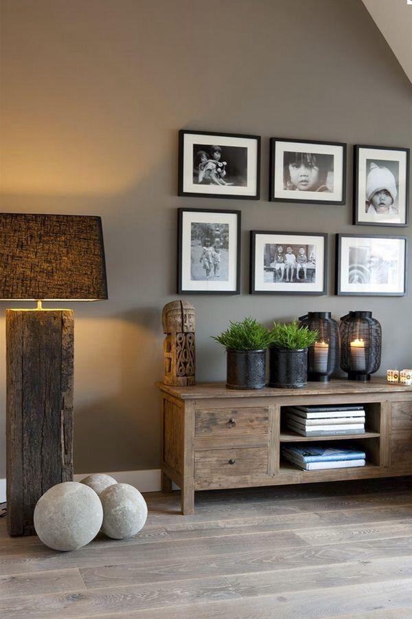grayscale photo collage sofa table color scheme salon