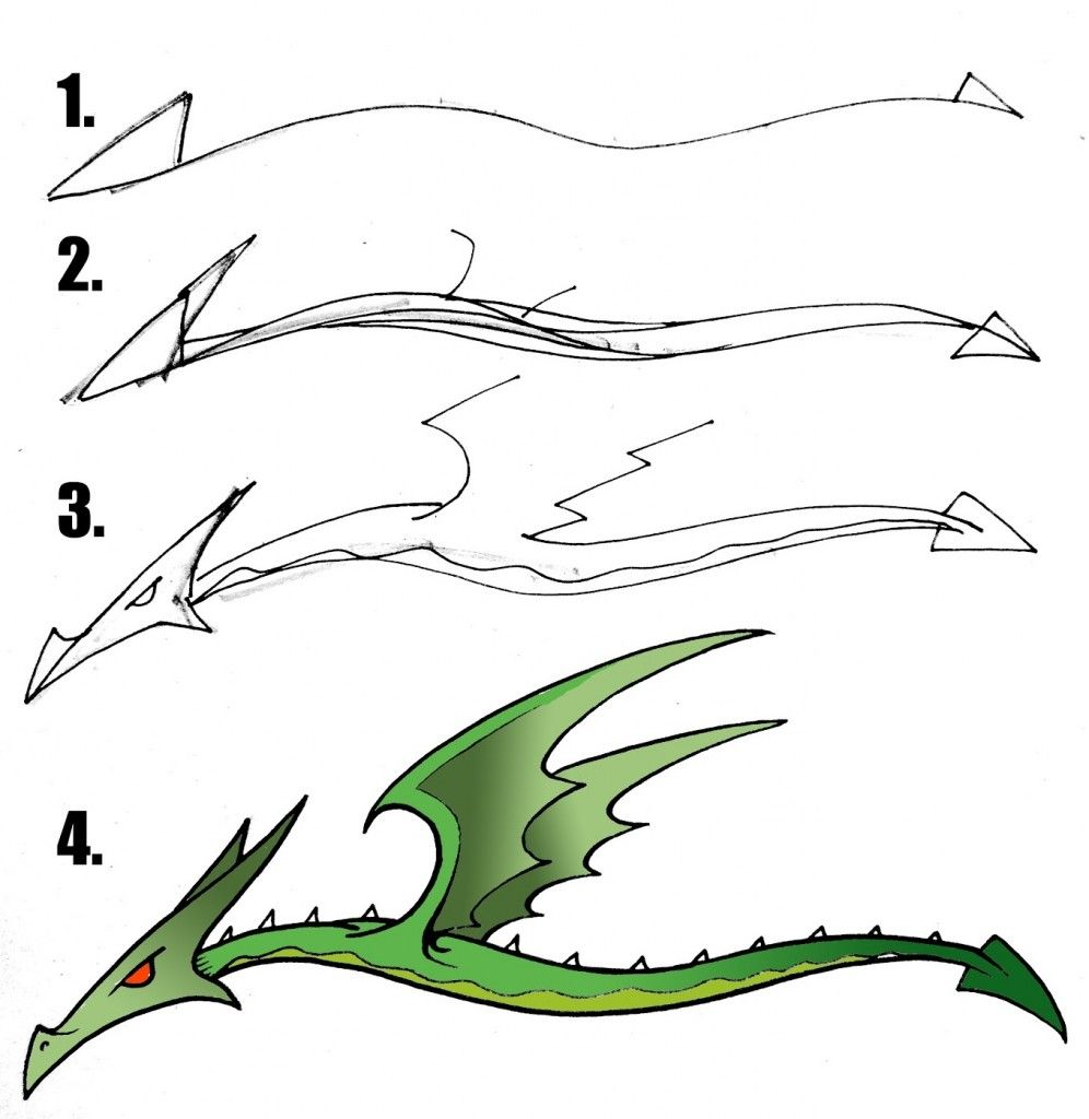 Images For Easy Dragon Drawings For Kids Step By Step Dragon