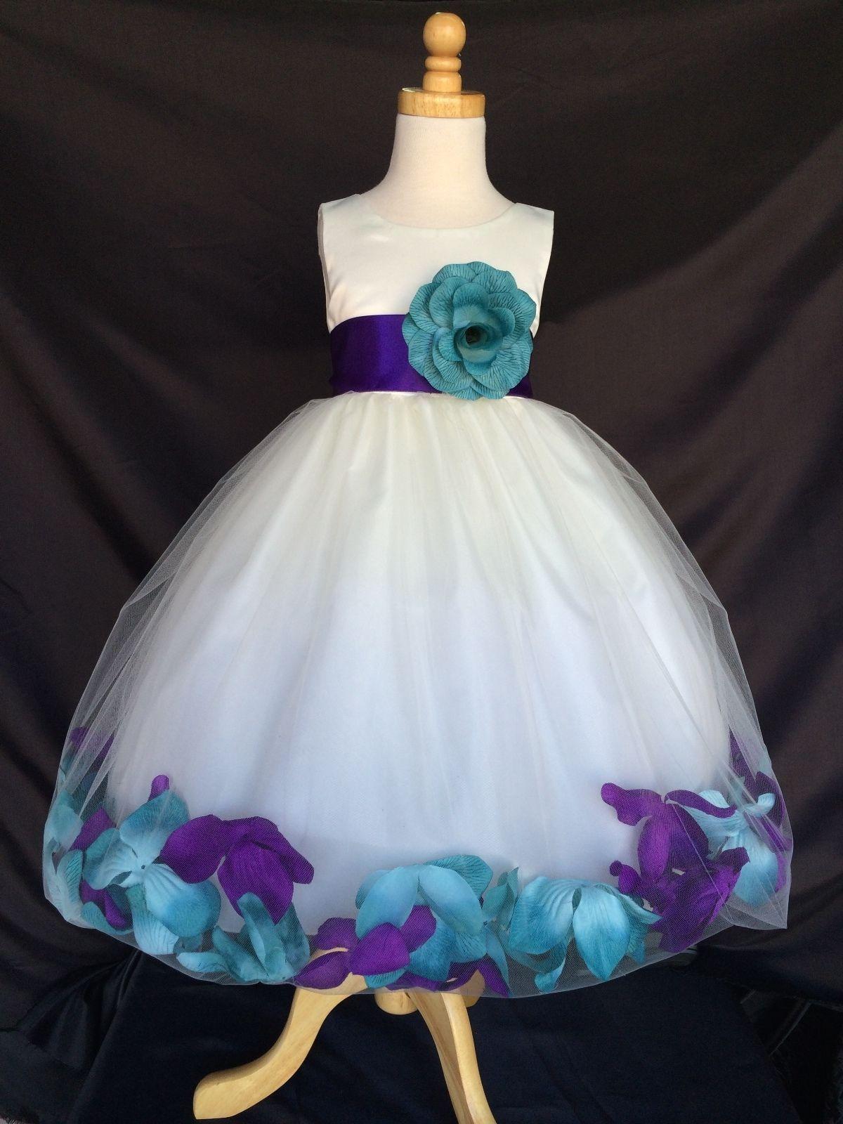 417dc1bdc5db Ivory Flower Girl Bridesmaids Mix Teal   Purple Mardi Grass Petal ...