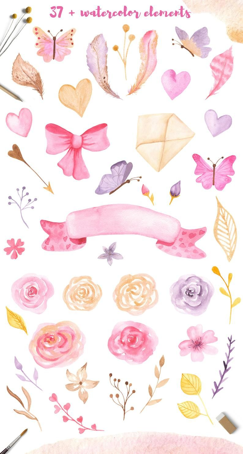 Valentine's Day watercolor clipart set. Cute illustrations of golden angels, hearts and symbols for creating greeting cards
