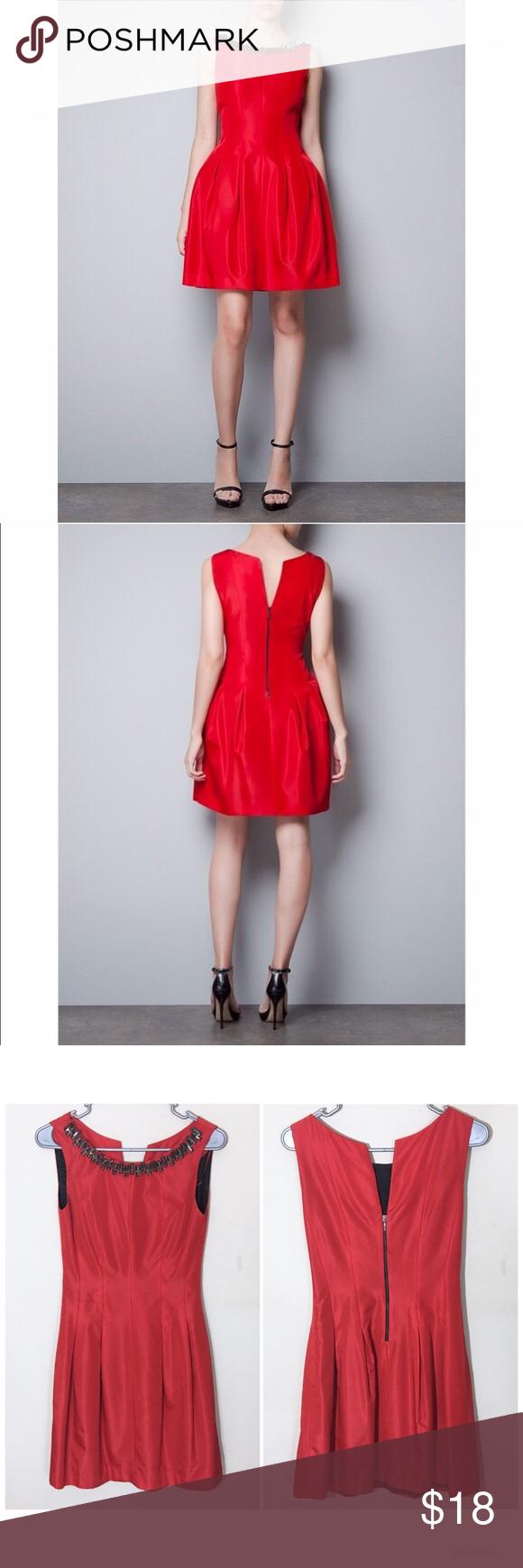 Zara embellished neckline red flare dress xs pinterest red flare