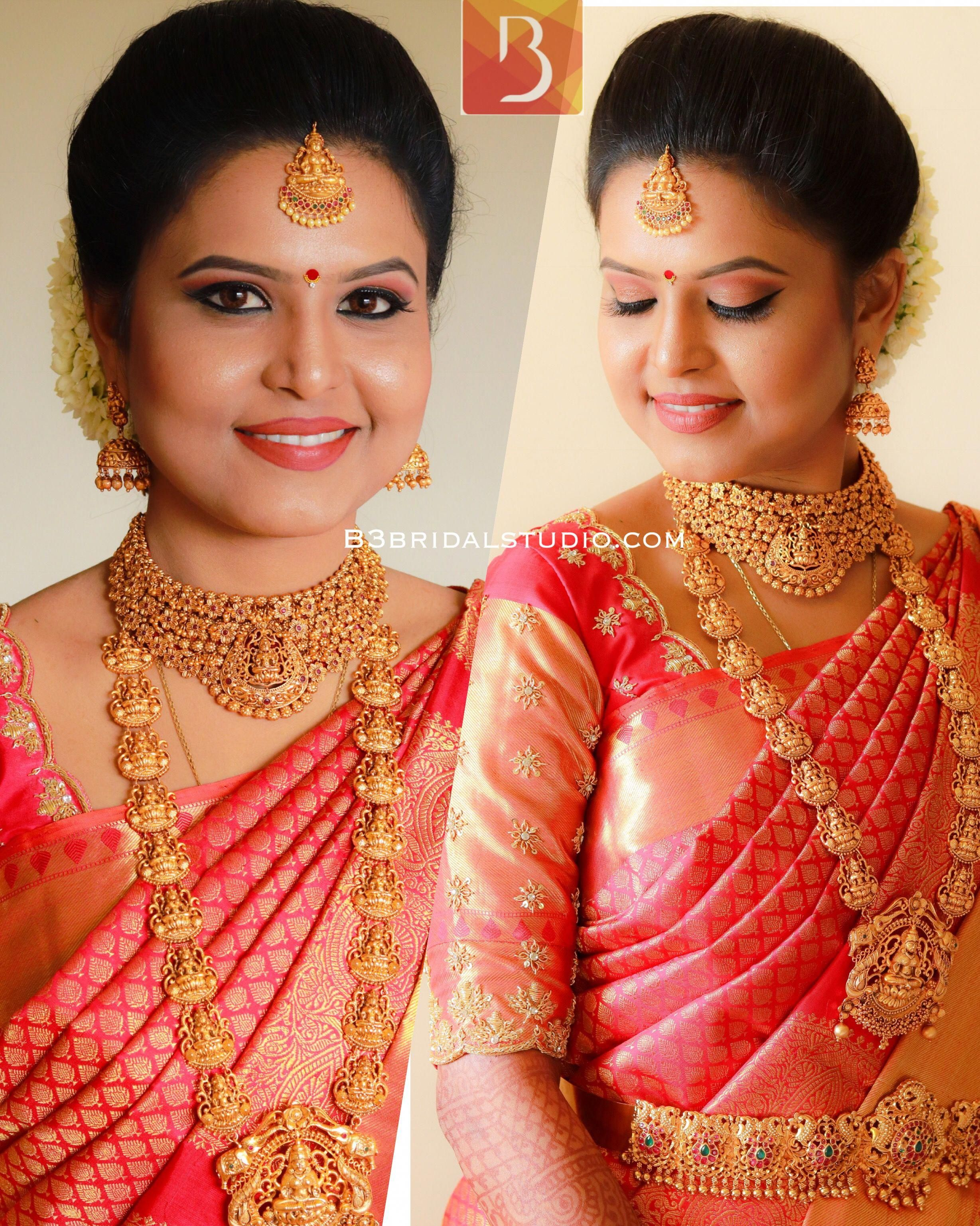 South Indian Bridal Makeup By Karthika B3bridalstudio Contact 9176664266 Bridaljewelleryenglish Indian Bridal Makeup Indian Bridal Bridal Jewellery Indian