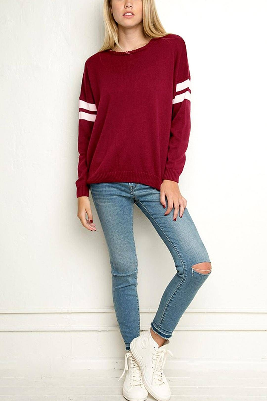 Burgundy Stripe Sleeve Loose Sweater | Loose sweater and Clothes