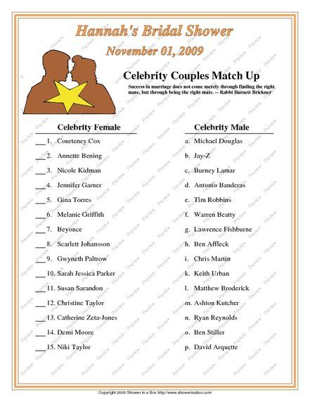 Famous Couples Bridal Shower Game. Bridal Shower Trivia. Match