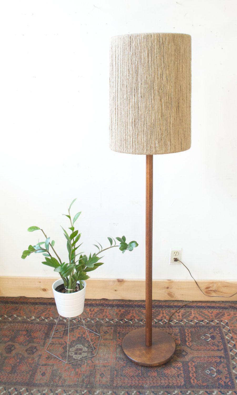 Mid Century Vintage Danish Teak Floor Lamp With Custom Jute Rope Shade Teak Flooring Vintage Table Lamp Lamp