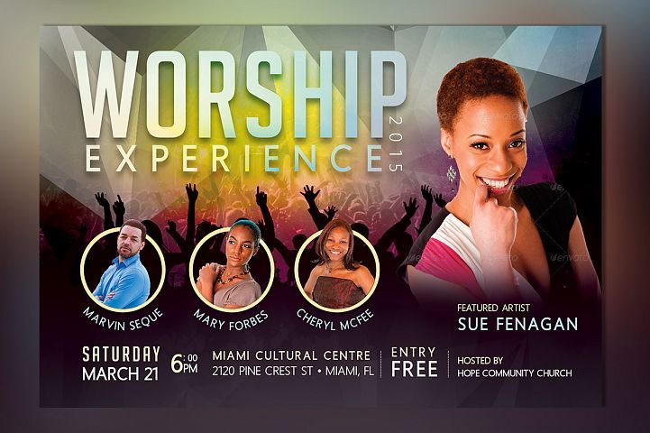 Church Concert Flyer Photoshop Template Design and Printing Assets