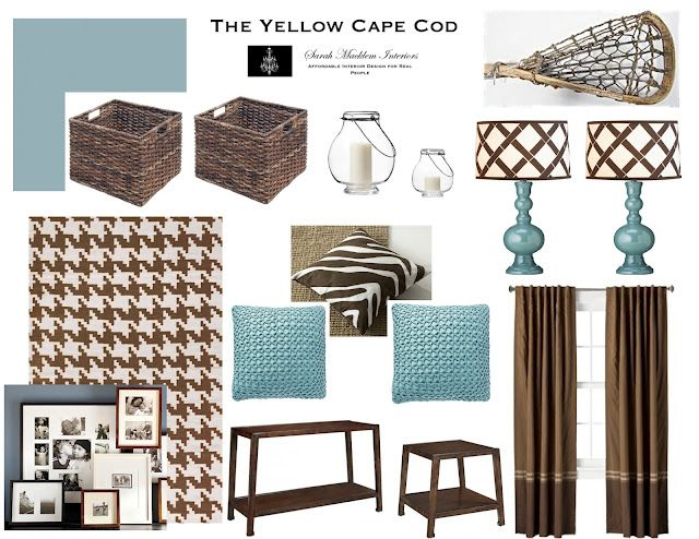 Aqua and brown living room.
