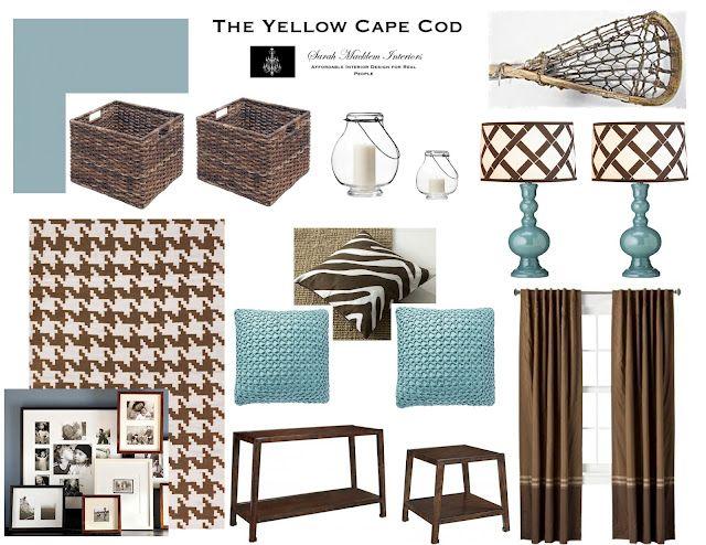 Aqua and brown living room.