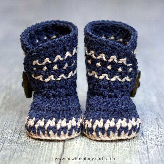 Crochet Baby Booties Crochet Pattern - Dakota Baby Boot - Boy - Girl ...