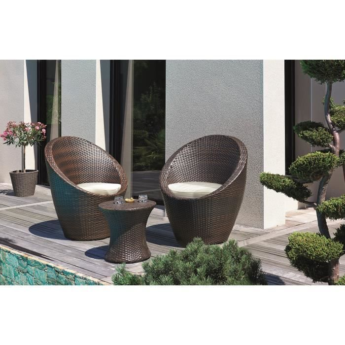 DCB GARDEN Salon de jardin Totem 1 table basse et 2 ...