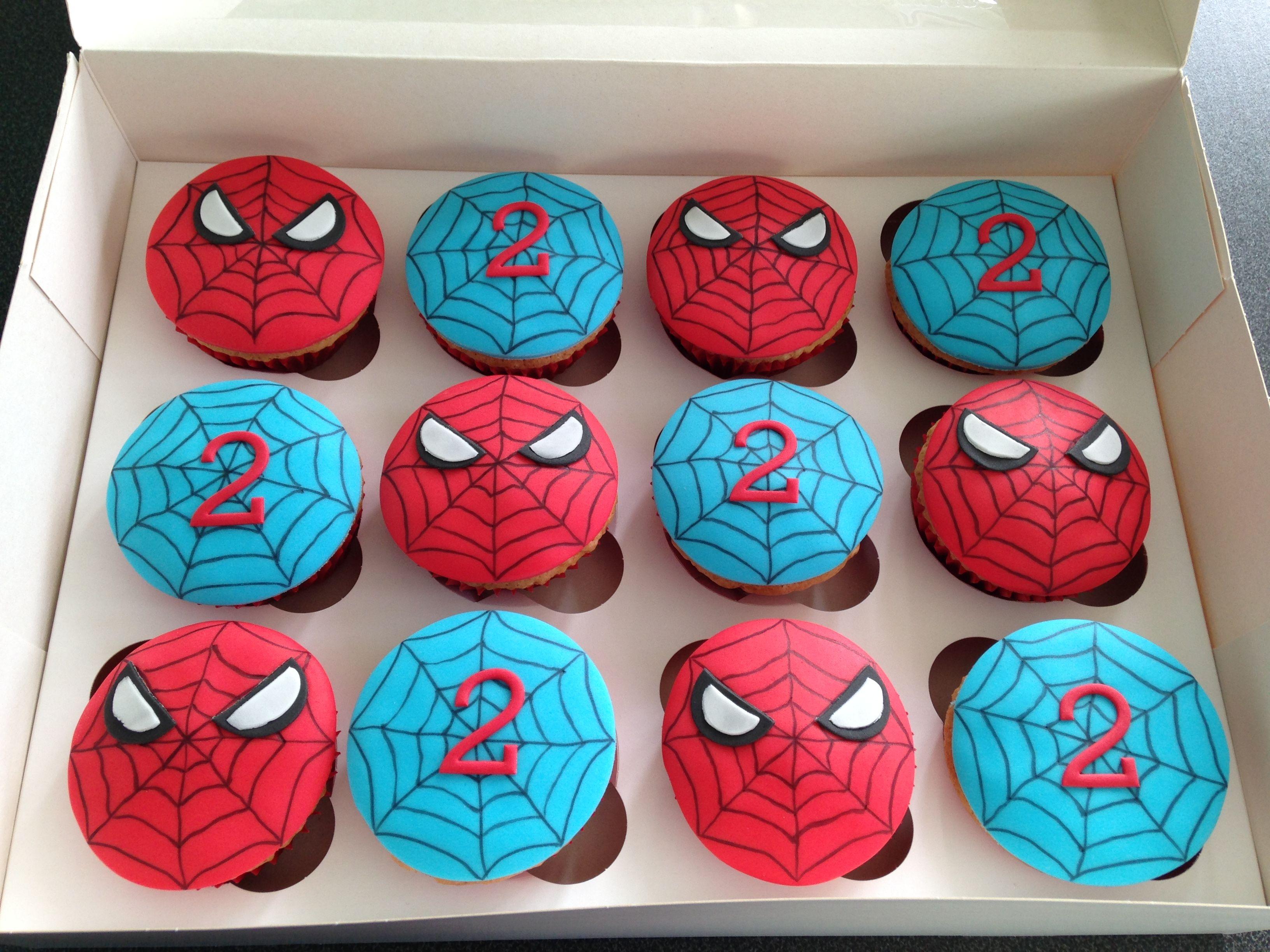 Spiderman cupcakes cakes cupcakes in 2019 pinterest for Cuartos decorados hombre arana