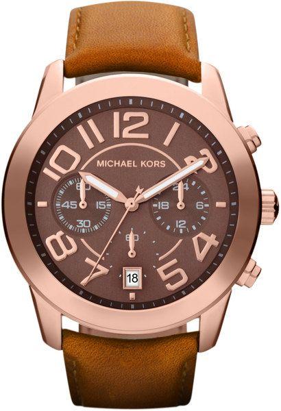 17c2b418e3fb Midsize Rose Golden Leather Mercer Threehand Watch - Lyst Michael Kors  Mercer
