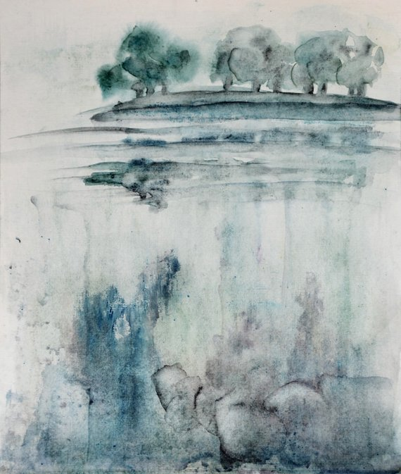 Deep And Distant Watercolor Painting Impressionistic Waterscape
