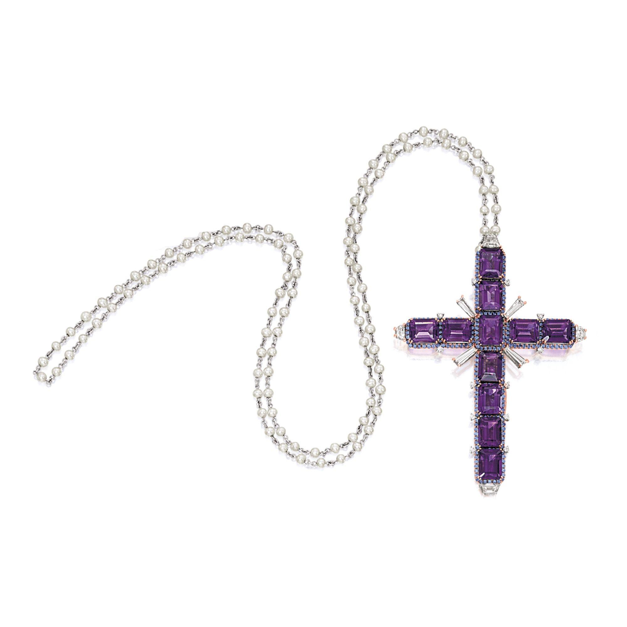 Amethyst diamond and gemset ucrossu pendant necklace lot