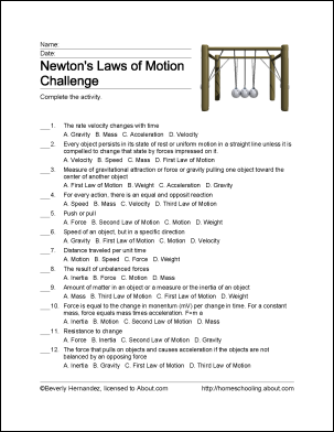 Free Printable Newton S Laws Of Motion Word Search Ss