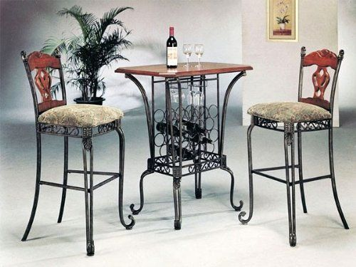 3Pc Kitchen Wine Rack Oak Table & 2 Bar Stools Set  The Best Captivating 2 Chair Dining Room Set Inspiration