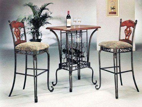 3pc Kitchen Wine Rack Oak Table 2 Bar Stools Set The Best