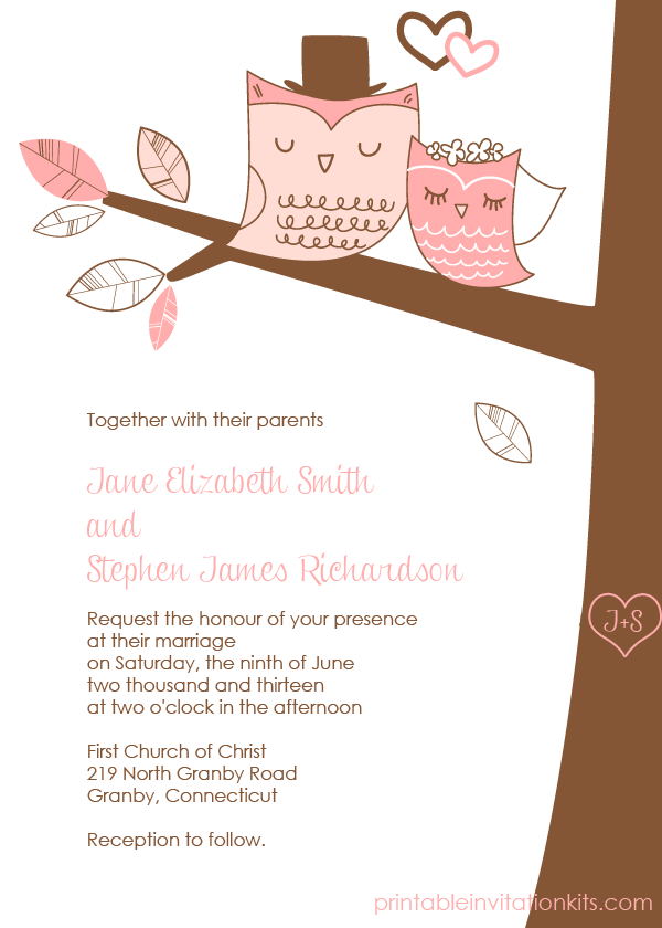 free pdf download wedding owls invitation with cute bride and groom