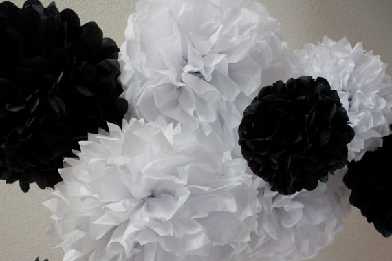 12 pcs Mixed 8 10 15 White Black Tissue Paper Pom by Craftmusou