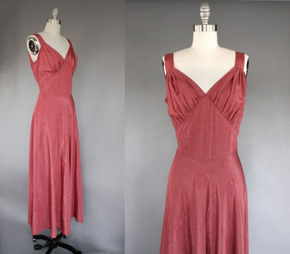 40s style full length evening gown / Rose Petals by AnatomyVintage