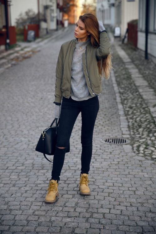 Wear the bomber jacket style over an extra long sleeved sweater.