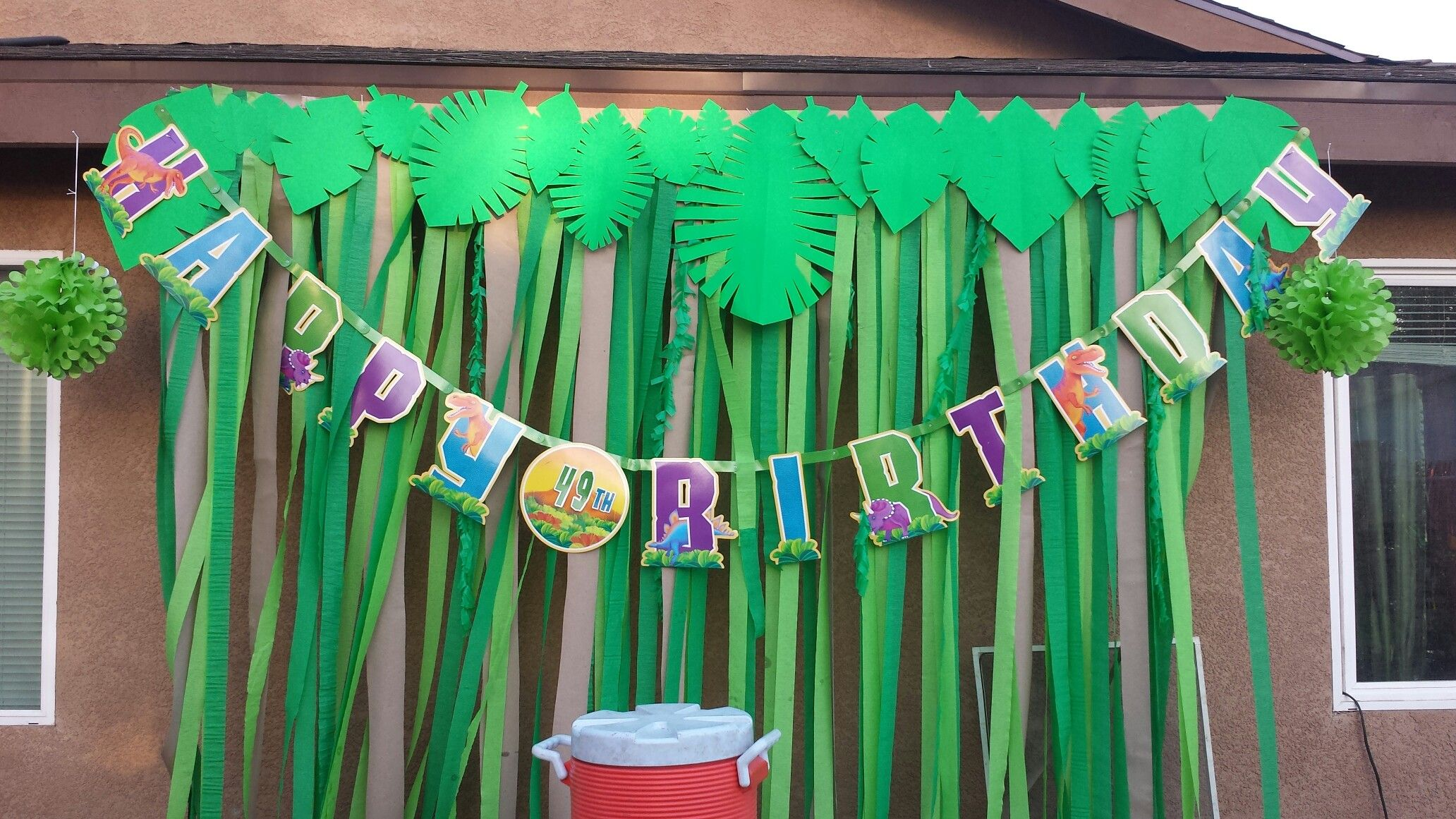 Prehistoric Dinosaur Birthday Party Table Backdrop Using Streamer Hand Crafted