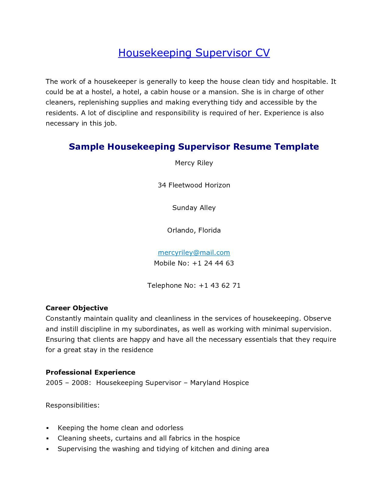 Sample Housekeeper Cover Letter Nanny Ems Supervisor Housekeeping